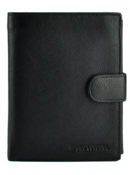 Чёрный кожаный портмоне под паспорт Marco Coverna BK010-807 black