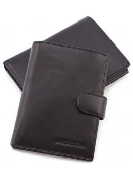 Чёрный кожаный кошелёк под паспорт Marco Coverna BK010-808 black