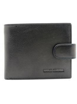 Чёрный кожаный кошелёк на защелке Marco Coverna BK010-896