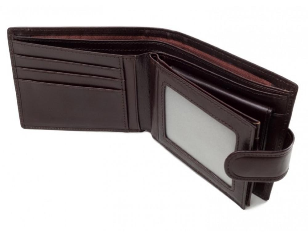 Коричневый кожаный кошелёк на защелке Marco Coverna B047-896C - Фото № 2