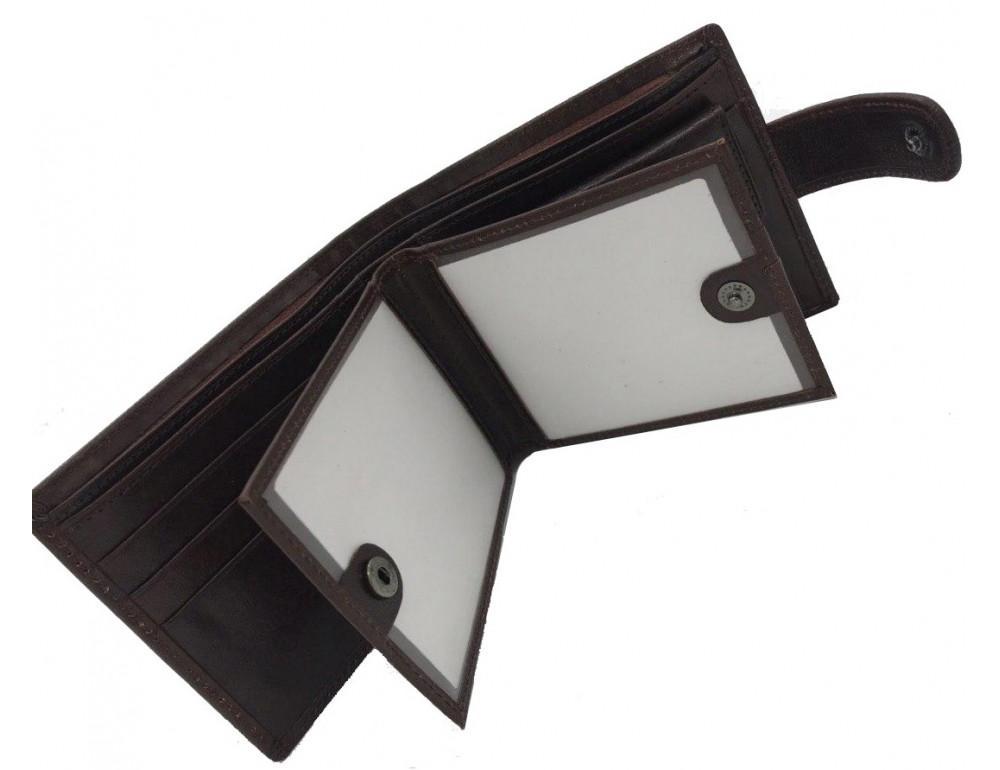 Коричневый кожаный кошелёк на защелке Marco Coverna B047-896C - Фото № 3
