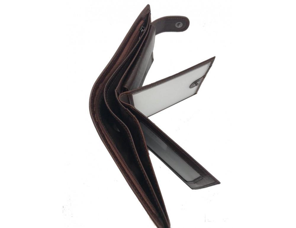 Коричневый кожаный кошелёк на защелке Marco Coverna B047-896C - Фото № 4