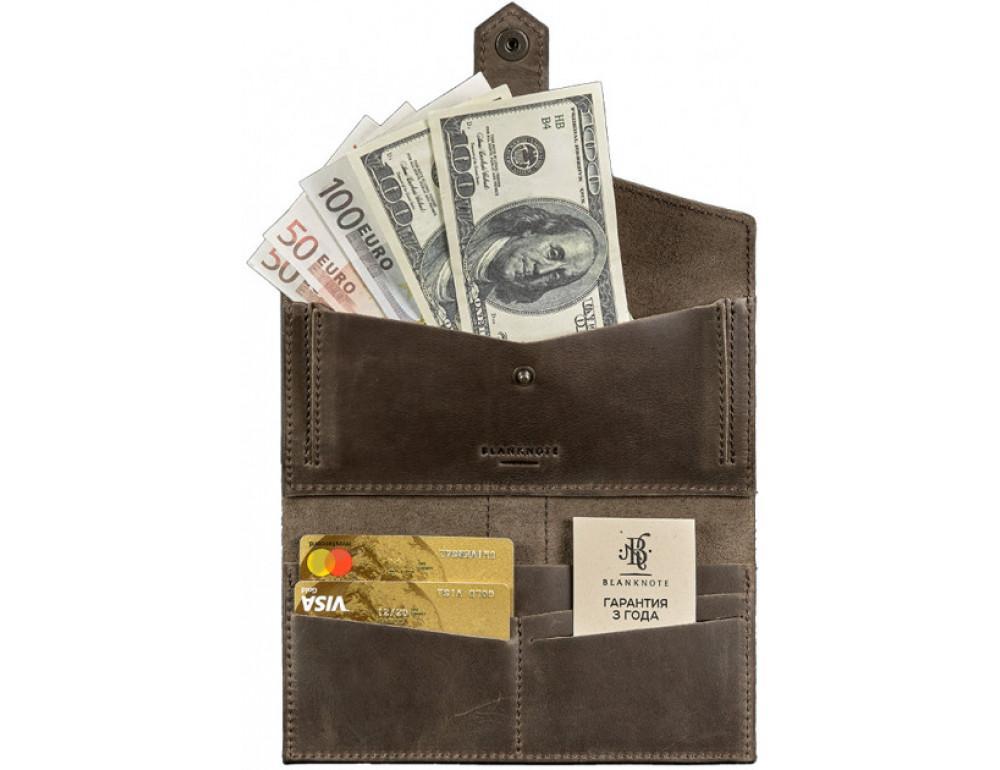 Кожаный кошелек из лошадиной кожи Blanknote BN-PM-3-O - Фото № 4