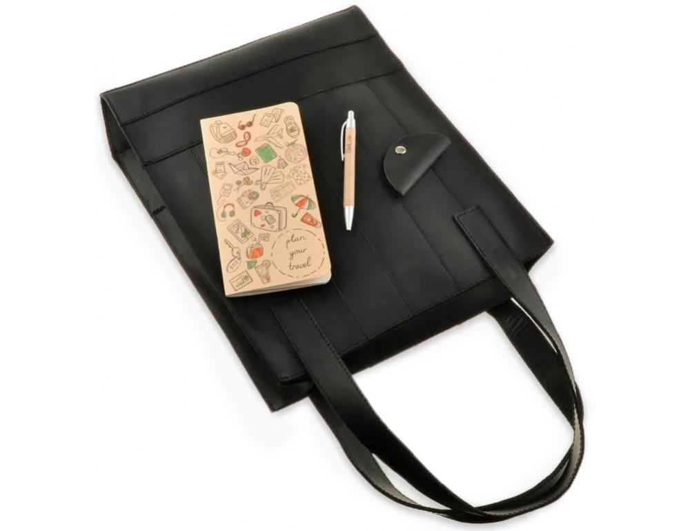 Чорна шкіряна сумка шоппер Blanknote BN-BAG-10-G-KR - Фотографія № 4