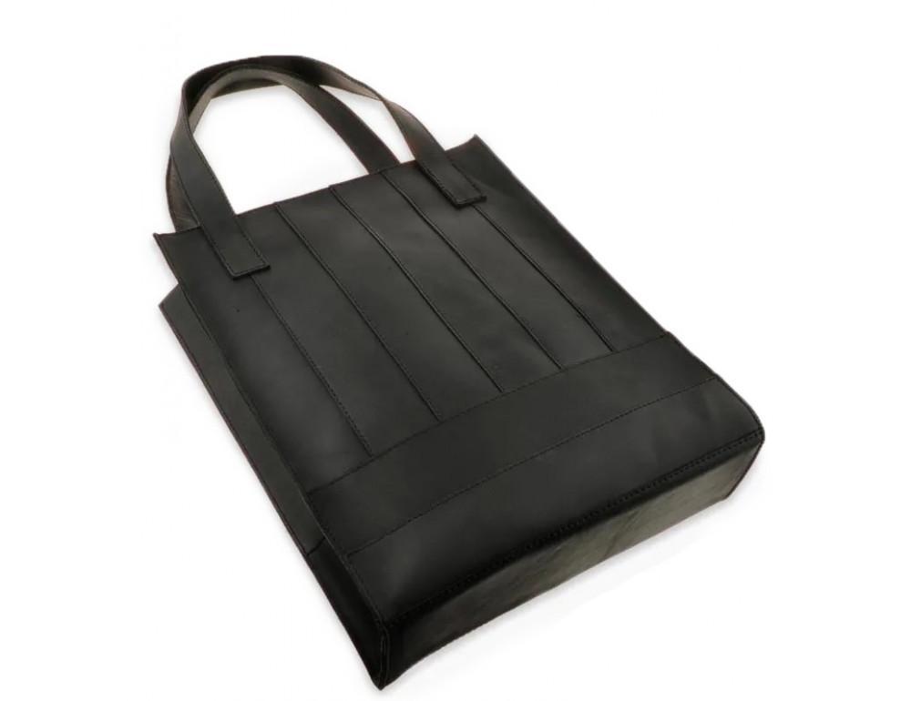 Чорна шкіряна сумка шоппер Blanknote BN-BAG-10-G-KR - Фотографія № 5