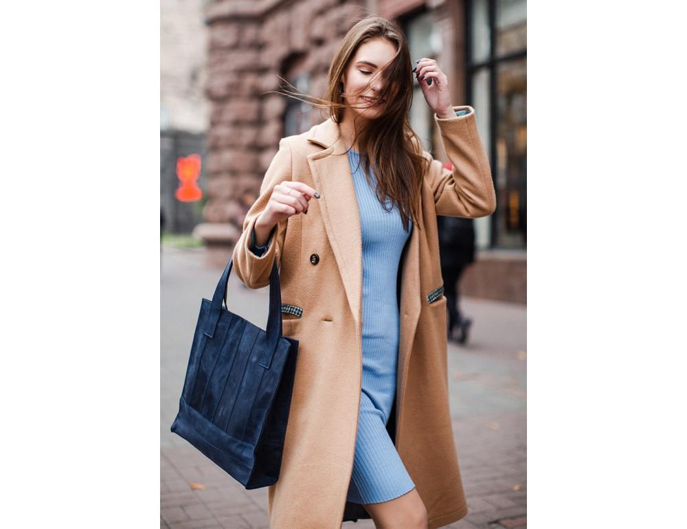 Кожаная женская сумка Blanknote bn-bag-10-nn синяя - Фото № 2