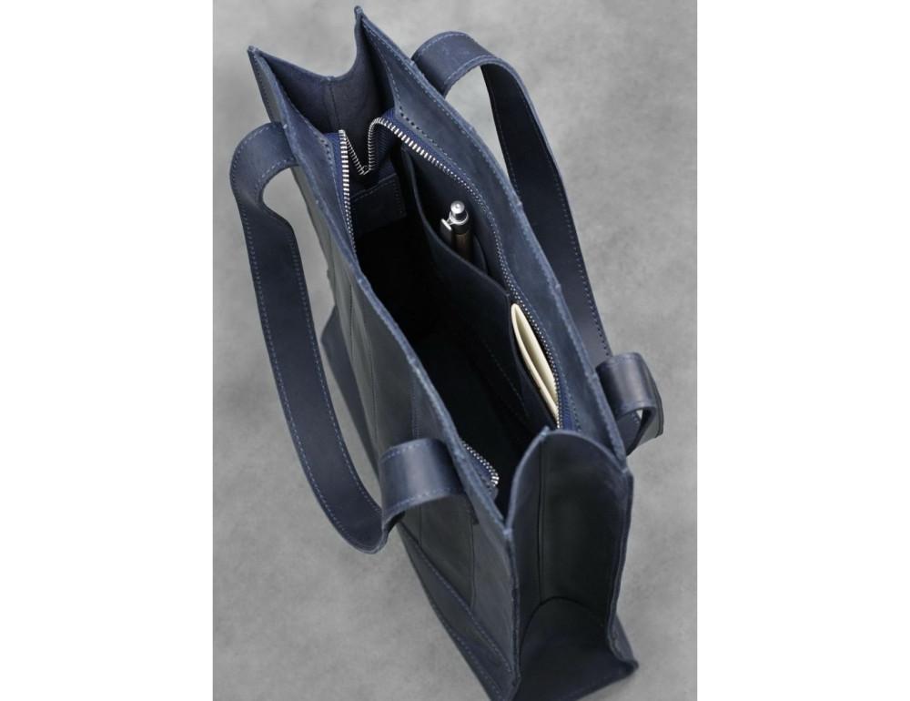 Кожаная женская сумка Blanknote bn-bag-10-nn синяя - Фото № 5