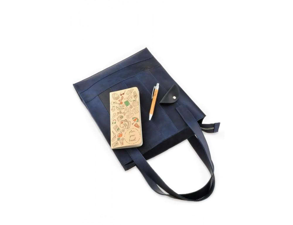 Кожаная женская сумка Blanknote bn-bag-10-nn синяя - Фото № 6