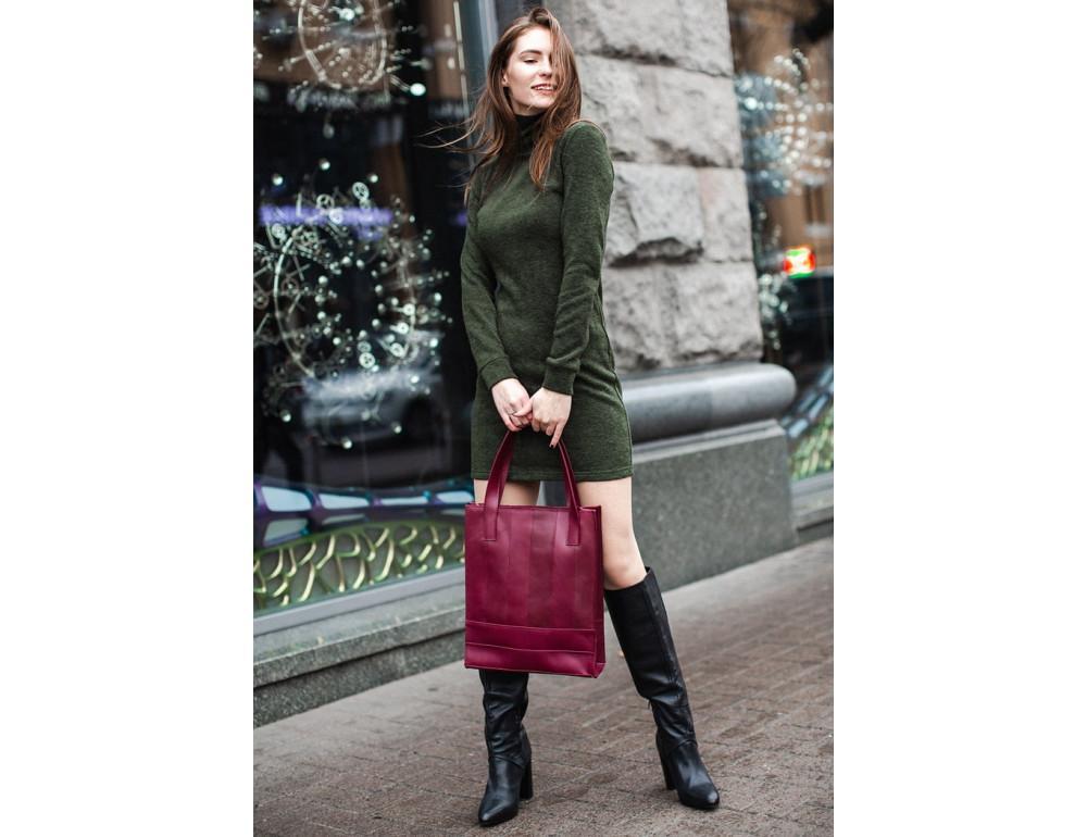 Женская кожаная сумка Blanknote bn-bag-10-vin виноградовая - Фото № 2