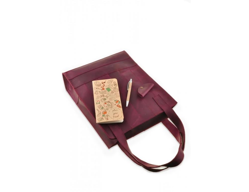 Женская кожаная сумка Blanknote bn-bag-10-vin виноградовая - Фото № 6