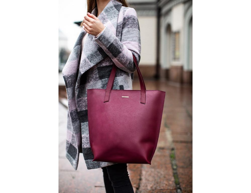 Містка жіноча сумка Шопер blanknote D.D. бордовий - Фотографія № 5