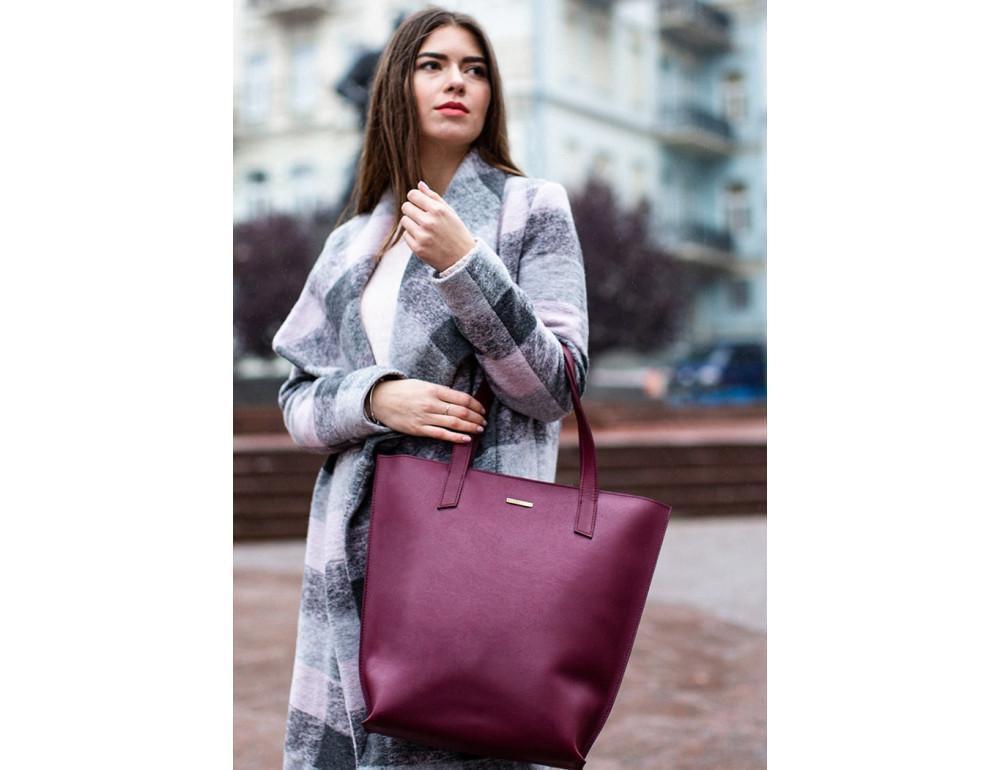 Містка жіноча сумка Шопер blanknote D.D. бордовий - Фотографія № 6