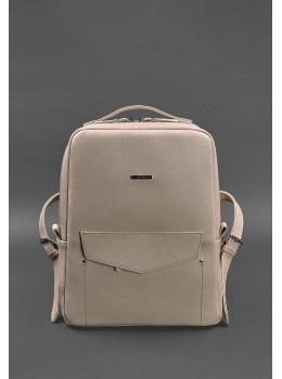 Пудровий жіночий рюкзак шкіряний Blancnote BN-BAG-19-CREM-BRULE