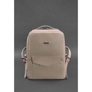 Пудровый женский рюкзак кожаный Blancnote BN-BAG-19-CREM-BRULE