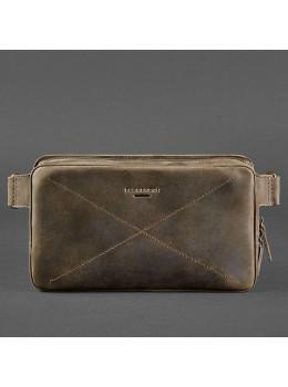 Тёмно-коричневая кожаная сумка на пояс blanknote BN-BAG-20-O