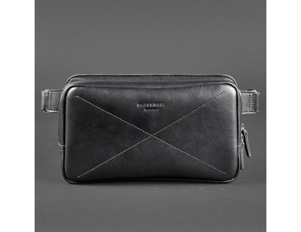 Чорна шкіряна сумка на пояс середня Blancnote BN-BAG-20-G