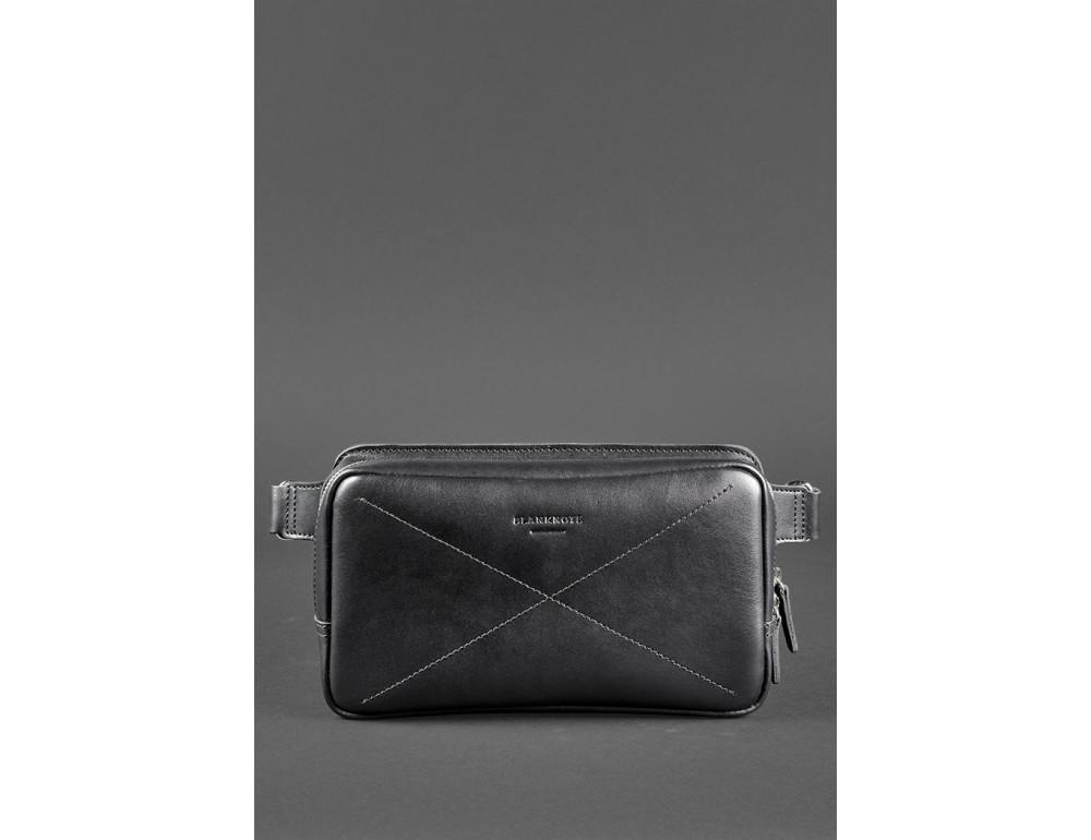 Черная кожаная сумка на пояс средняя Blancnote BN-BAG-20-G - Фото № 3