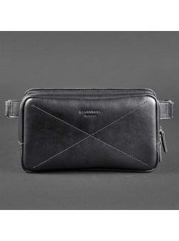 Черная кожаная сумка на пояс средняя Blancnote BN-BAG-20-G