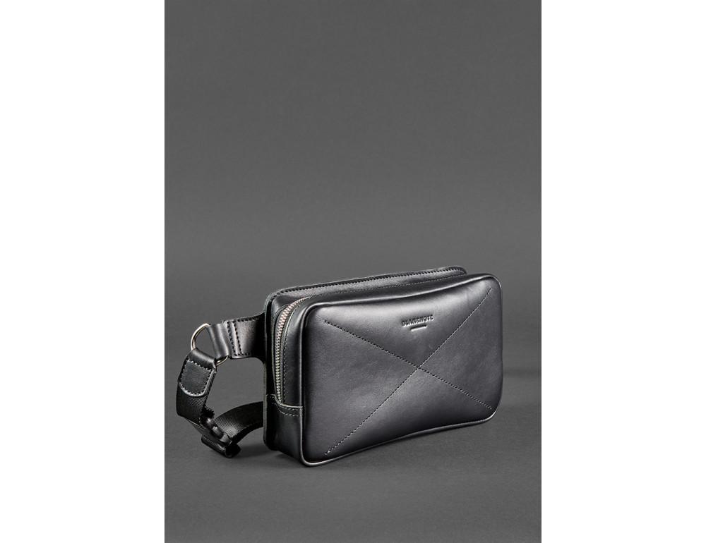 Черная кожаная сумка на пояс средняя Blancnote BN-BAG-20-G - Фото № 4