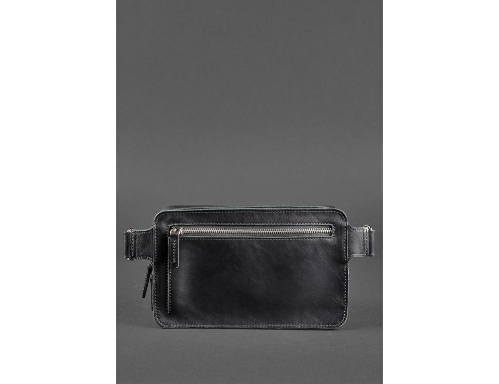Черная кожаная сумка на пояс средняя Blancnote BN-BAG-20-G - Фото № 5