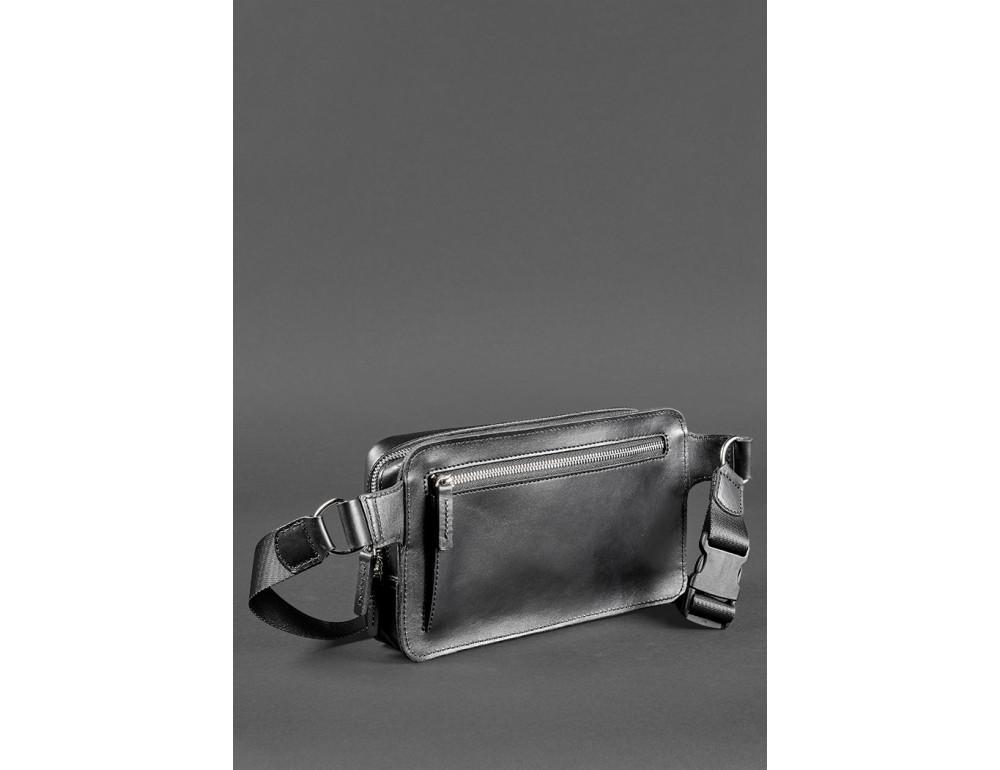 Черная кожаная сумка на пояс средняя Blancnote BN-BAG-20-G - Фото № 6