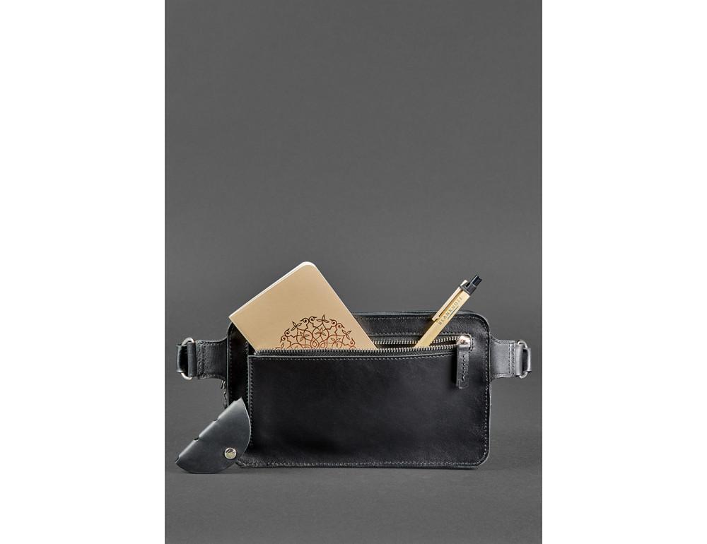 Черная кожаная сумка на пояс средняя Blancnote BN-BAG-20-G - Фото № 7