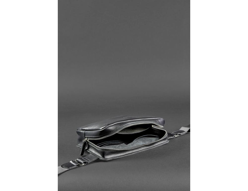 Черная кожаная сумка на пояс средняя Blancnote BN-BAG-20-G - Фото № 8