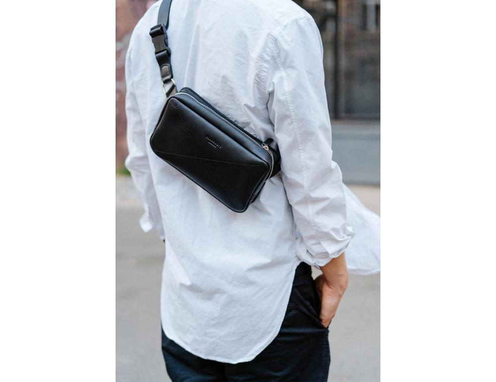 Черная кожаная сумка на пояс средняя Blancnote BN-BAG-20-G - Фото № 9