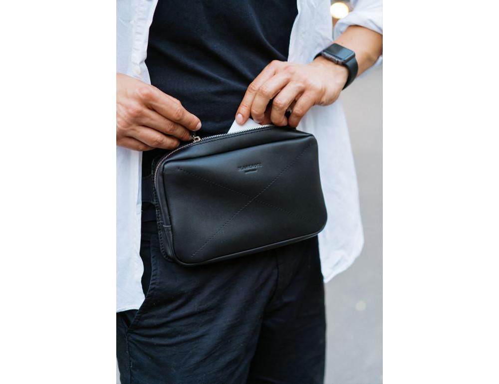Черная кожаная сумка на пояс средняя Blancnote BN-BAG-20-G - Фото № 11