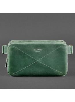 Зелёная кожаная сумка на пояс Crazy Hourse Blancnote BN-BAG-20-IZ