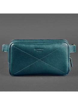 Зелёная кожаная сумка на пояс Blancnote BN-BAG-20-MALACHITE