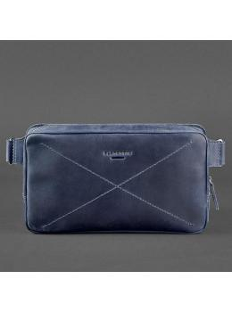 Синяя кожаная сумка на пояс Blancnote BN-BAG-20-NN