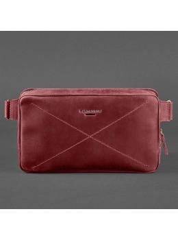 Бордовая кожаная сумка на пояс Blancnote BN-BAG-20-VIN-KR
