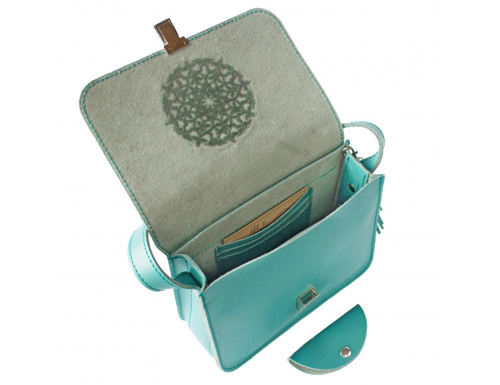 Бирюзовая кожаная сумочка Blanknote BN-BAG-3-tiffany - Фото № 3