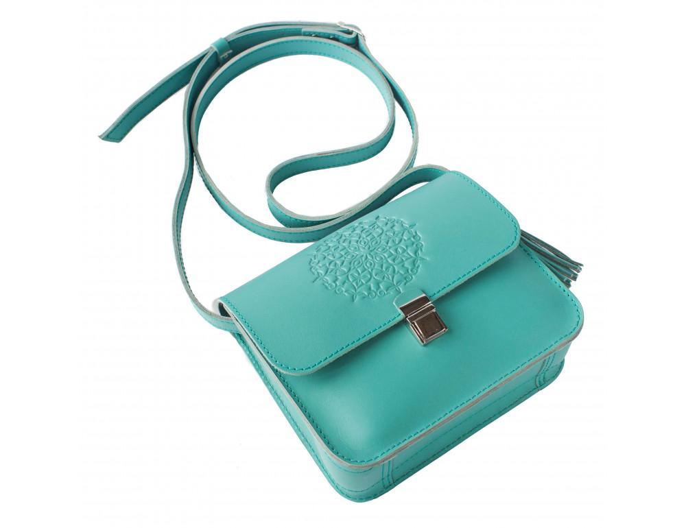 Бирюзовая кожаная сумочка Blanknote BN-BAG-3-tiffany - Фото № 4