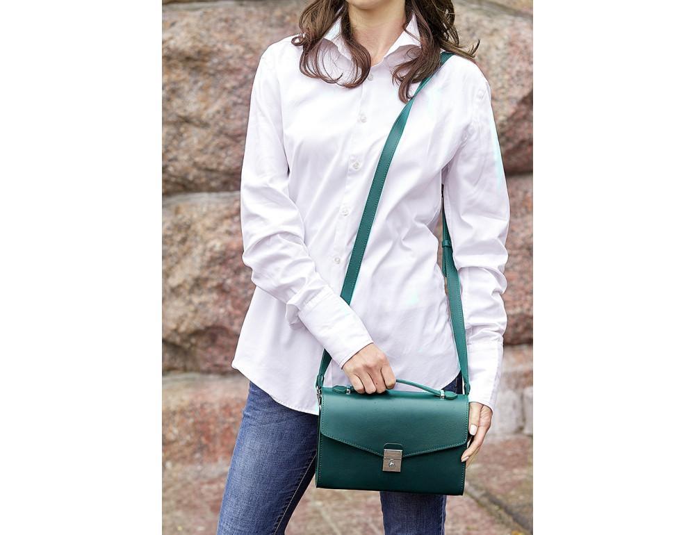 Зелёная кожаная сумка через плечо Blanknote BN-BAG-35-MALACHITE - Фото № 2