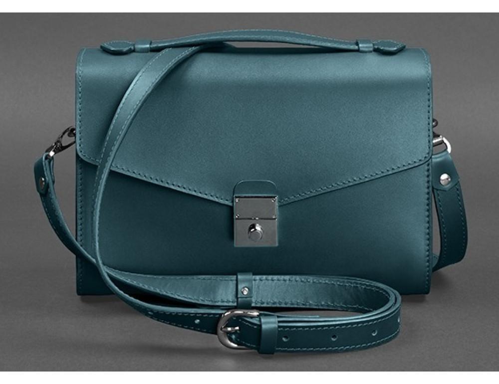 Зелёная кожаная сумка через плечо Blanknote BN-BAG-35-MALACHITE - Фото № 5