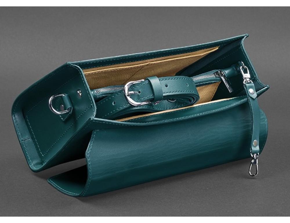 Зелёная кожаная сумка через плечо Blanknote BN-BAG-35-MALACHITE - Фото № 6