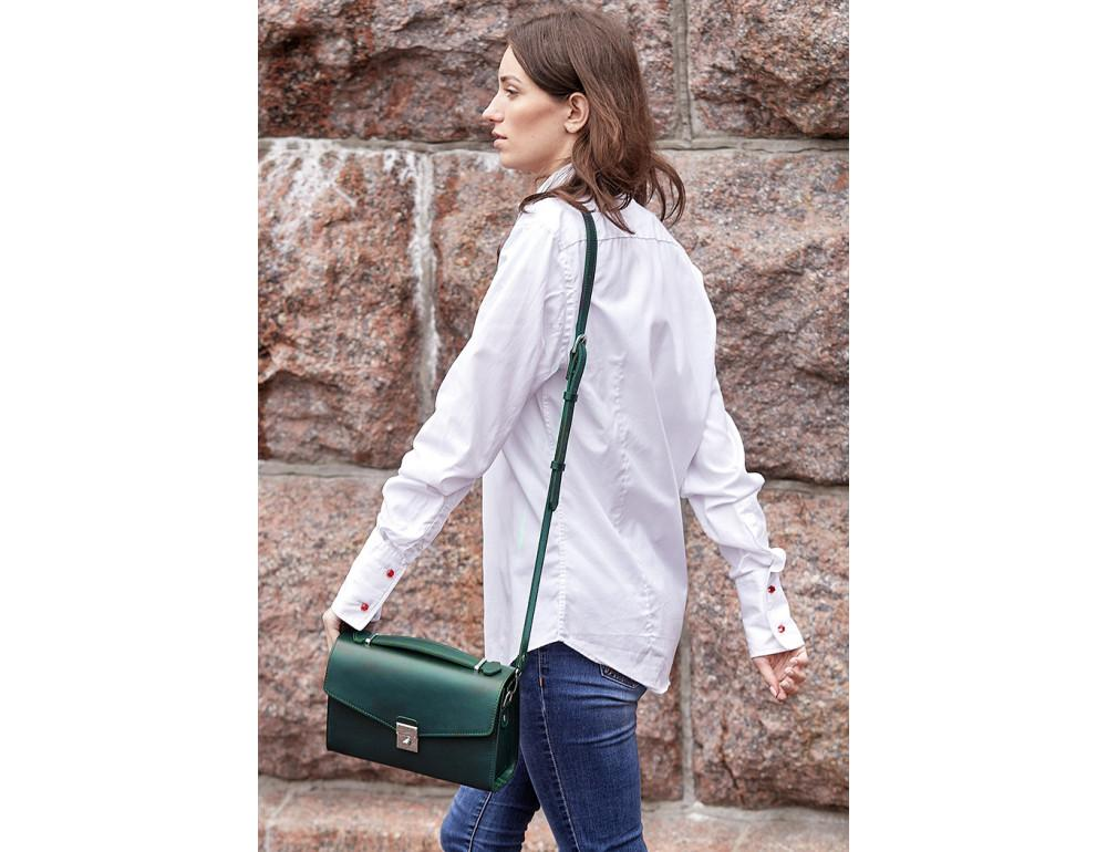 Зелёная кожаная сумка через плечо Blanknote BN-BAG-35-MALACHITE - Фото № 7