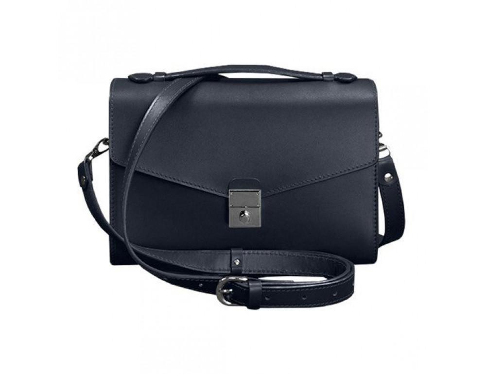 Тёмно-синяя кожаная сумка через плечо BN-BAG-35-NAVY-BLUE - Фото № 1