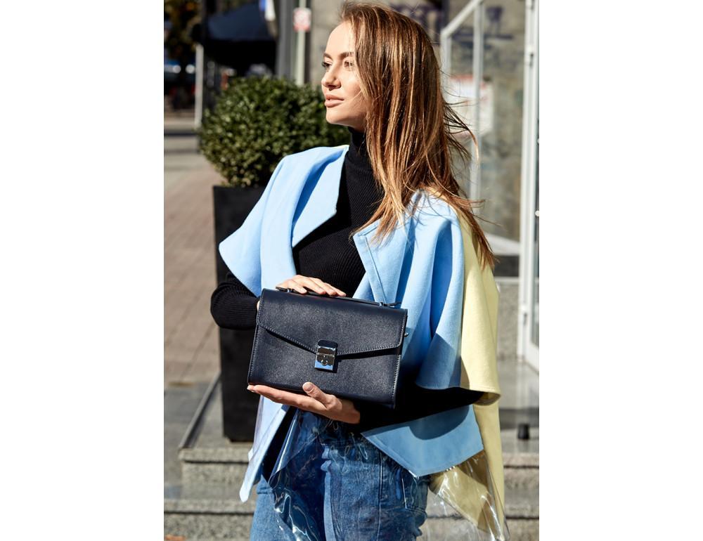 Тёмно-синяя кожаная сумка через плечо BN-BAG-35-NAVY-BLUE - Фото № 2
