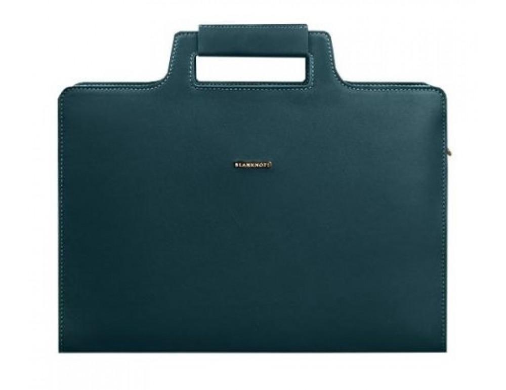 Зелёный женский кожаный портфель Blanknote BN-BAG-36-MALACHITE