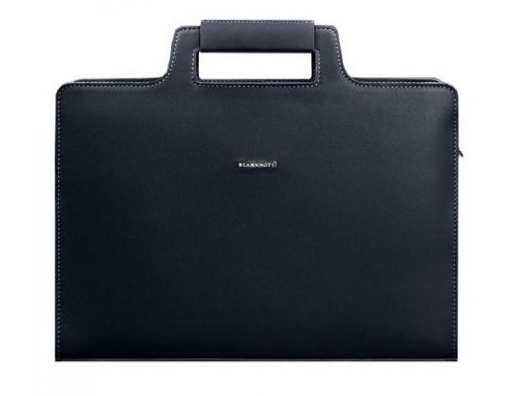 Тёмно-синяя кожаная сумка для документов Blanknote BN-BAG-36-NAVY-BLUE