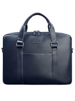 Синя шкіряна сумка під документи унісекс Blanknote BN-BAG-37-navy-blue