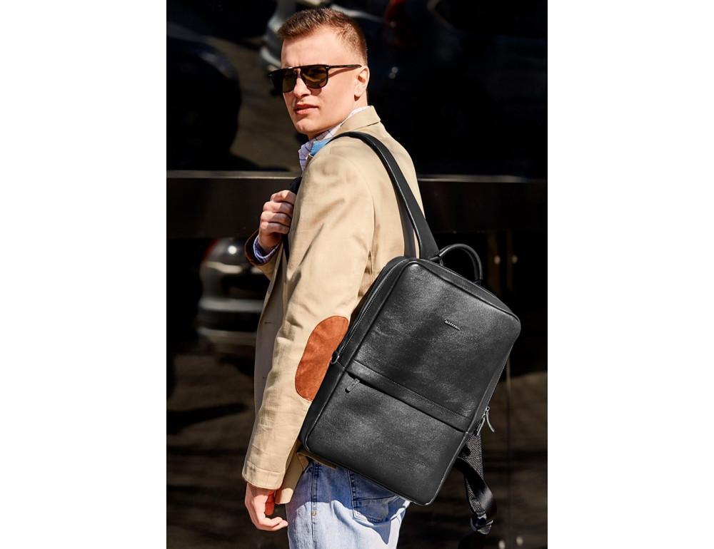 Чёрный мужской рюкзак кожаный Blancnote BN-BAG-39-G - Фото № 2