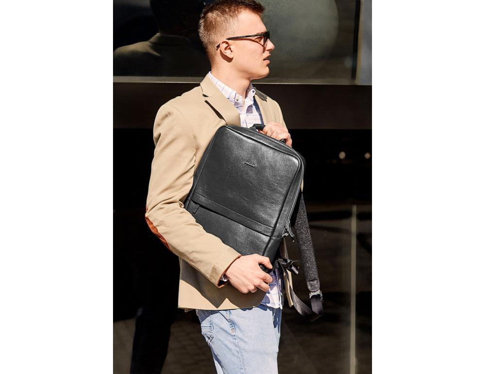 Чёрный мужской рюкзак кожаный Blancnote BN-BAG-39-G - Фото № 6