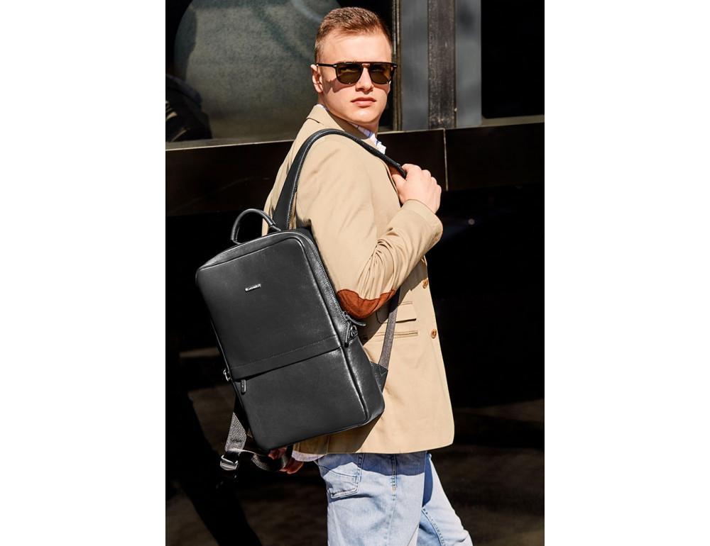 Чёрный мужской рюкзак кожаный Blancnote BN-BAG-39-G - Фото № 7