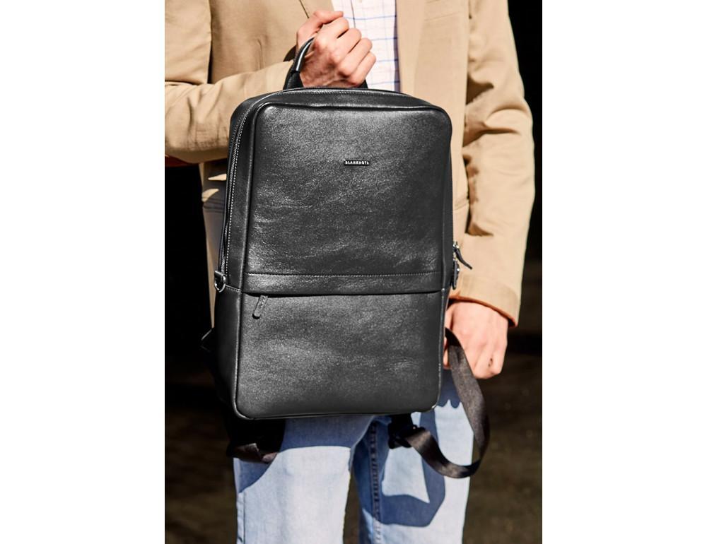 Чёрный мужской рюкзак кожаный Blancnote BN-BAG-39-G - Фото № 8