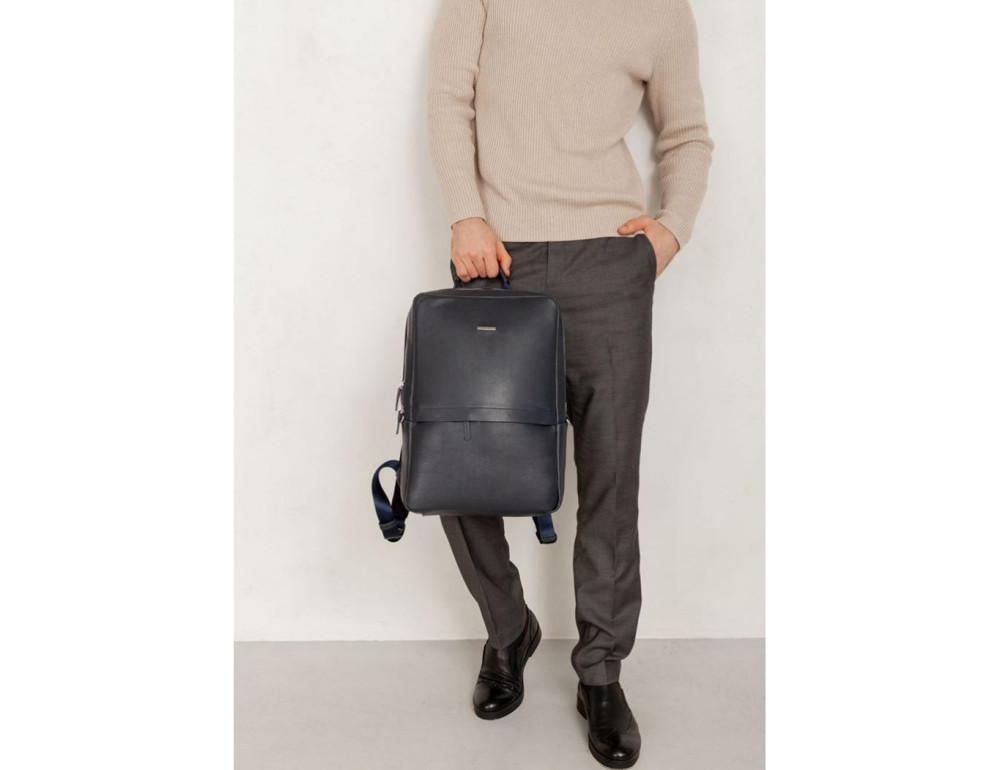 Тёмно-синий мужской рюкзак кожаный Blancnote BN-BAG-39-navy-blue - Фото № 2