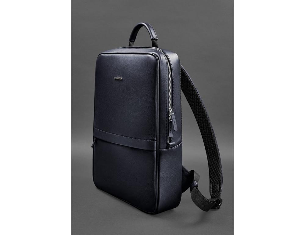 Тёмно-синий мужской рюкзак кожаный Blancnote BN-BAG-39-navy-blue - Фото № 3